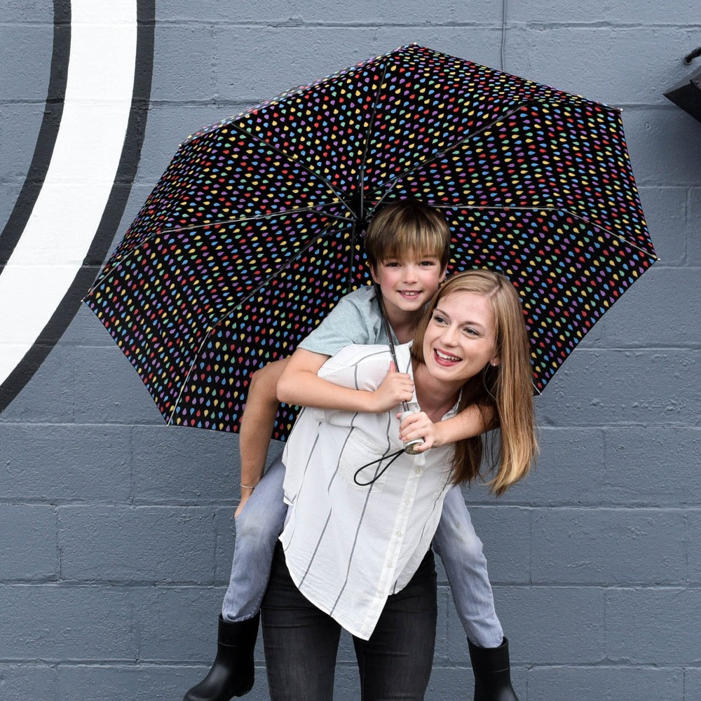 Mini Auto Open Close Neverwet And Sunguard Umbrella in Black With Models Mother and Son