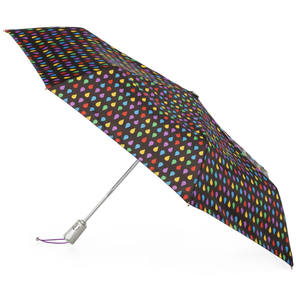 Sunguard Auto Open Close Umbrella With Neverwet in Black Rain Open Side Profile