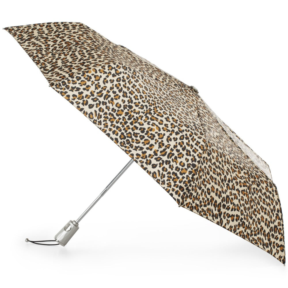 Sunguard Auto Open Close Umbrella With Neverwet in Leopard Spotted Open Side Profile