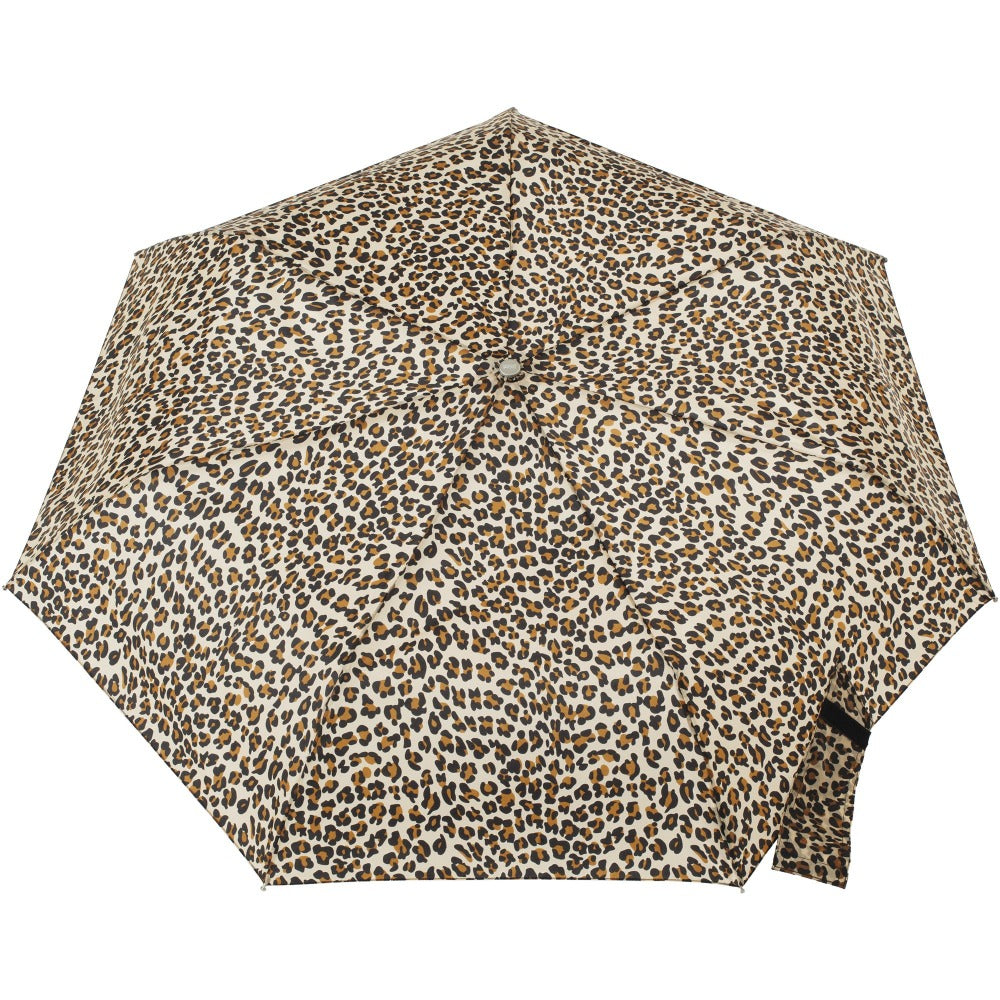 Sunguard Auto Open Close Umbrella With Neverwet in Leopard Spotted Open Top View