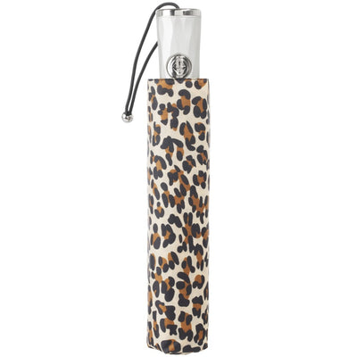 Sunguard Auto Open Close Umbrella With Neverwet in Leopard Spotted Closed in Carrying Case