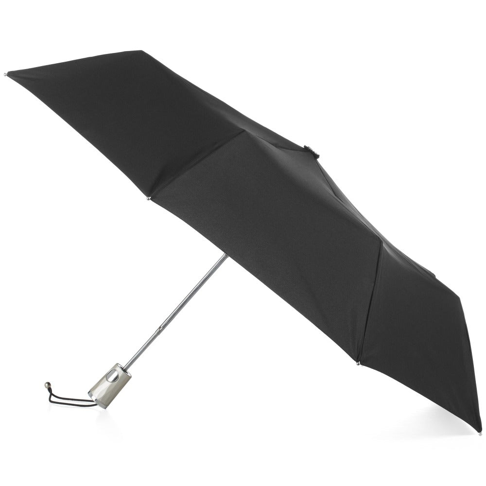 Signature Auto Open Umbrella With Neverwet in Black Open Side Profile