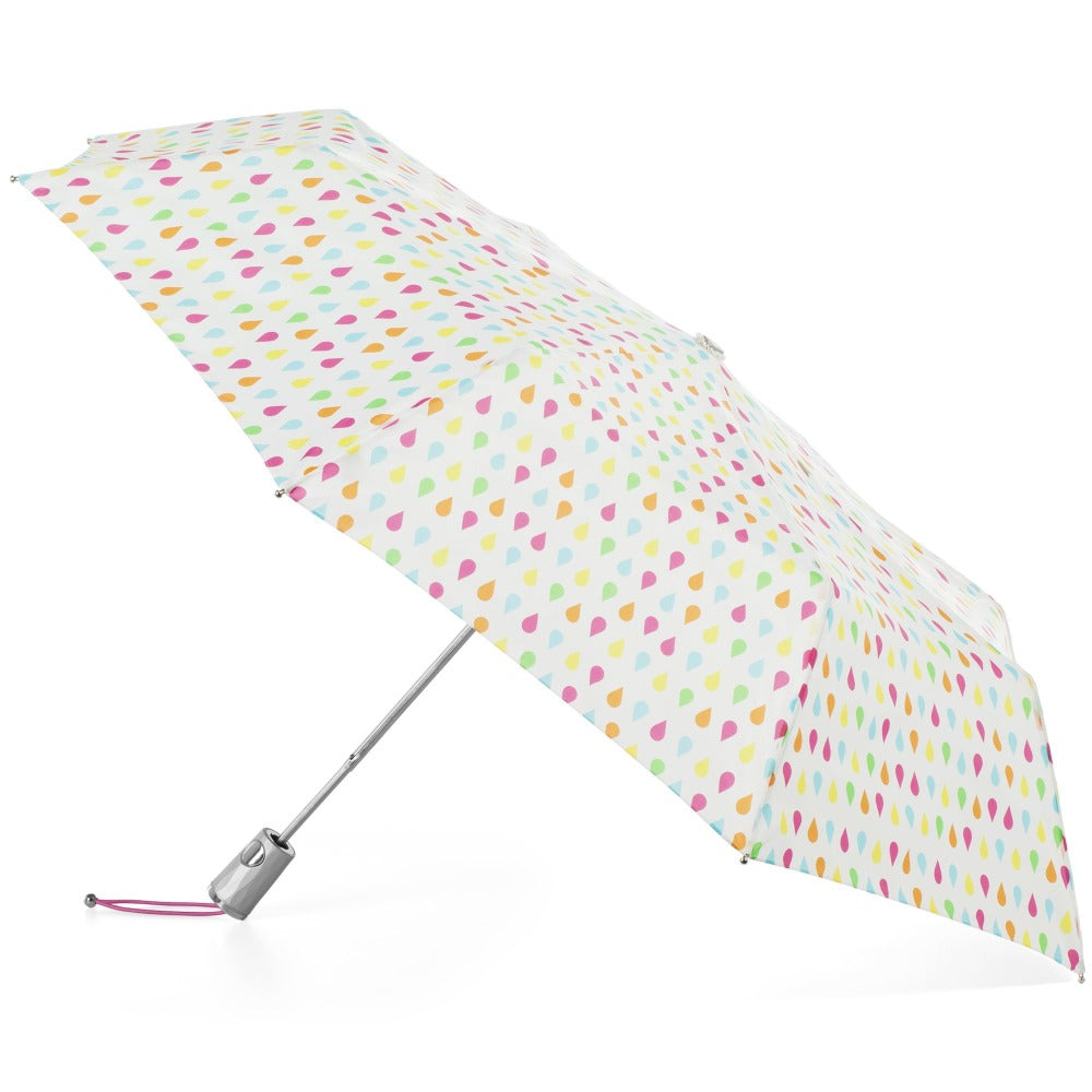 Signature Auto Open Umbrella With Neverwet in White Rain Open Side Profile