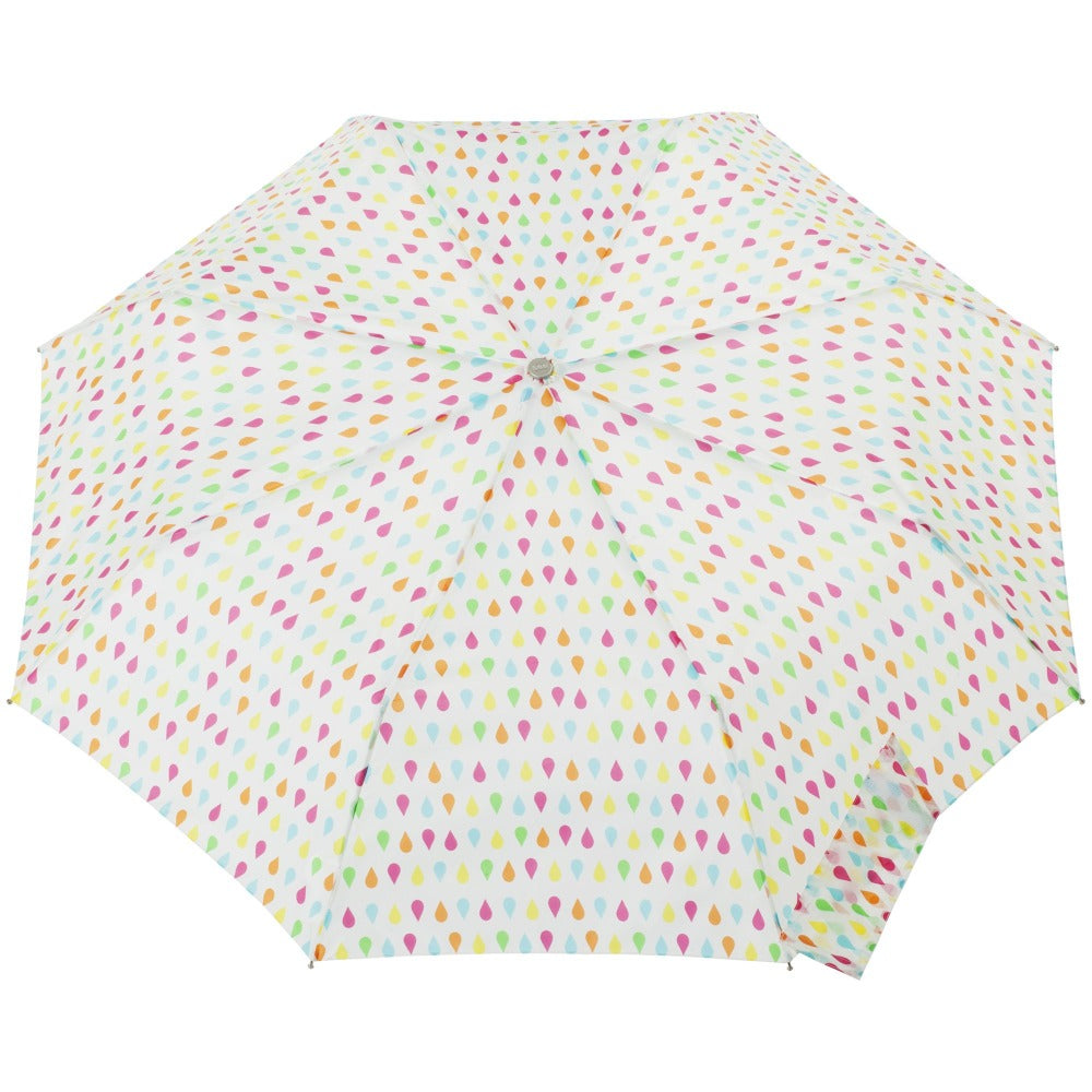 Signature Auto Open Umbrella With Neverwet in White Rain Open Top View