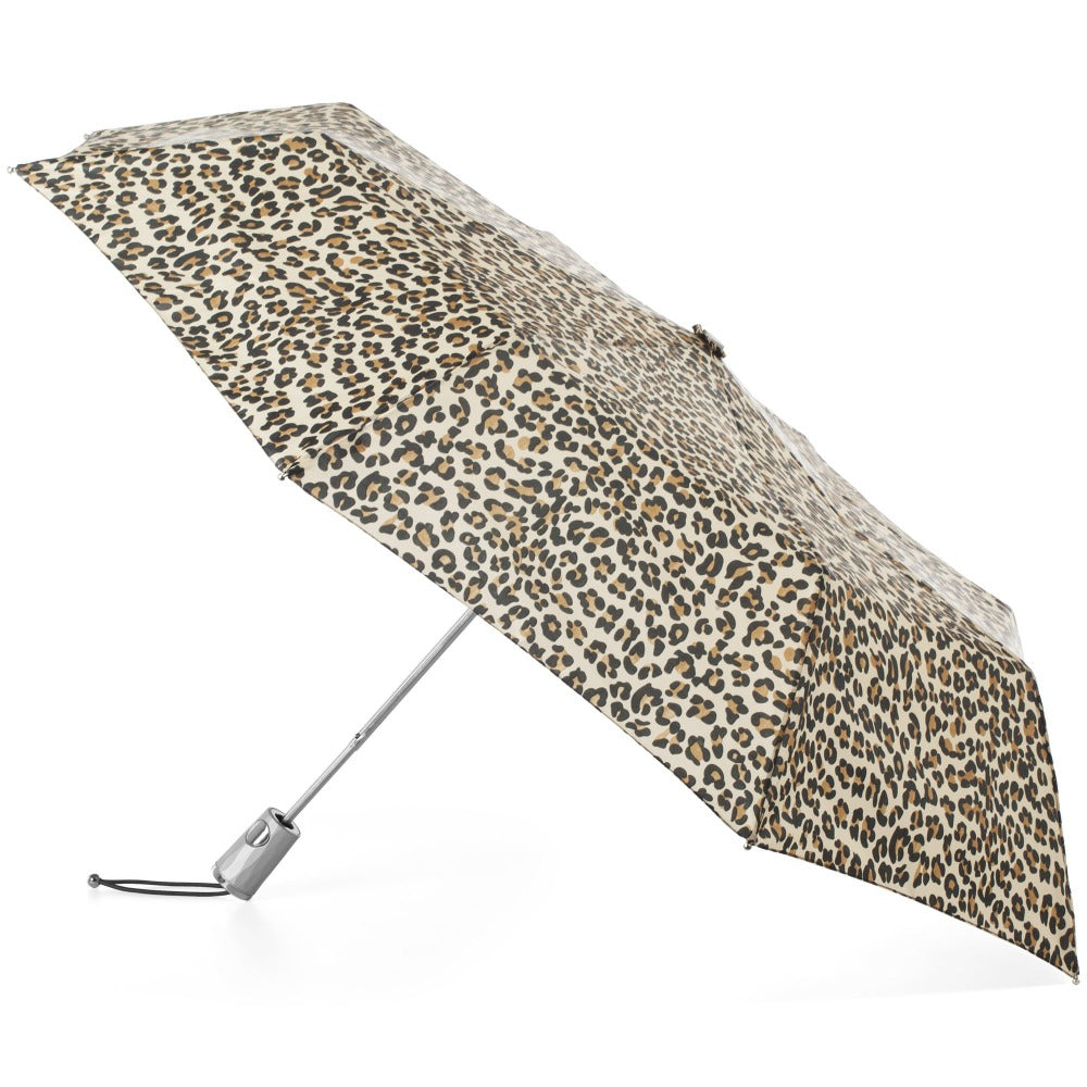 Signature Auto Open Umbrella With Neverwet in Leopard Spotted Open Side Profile