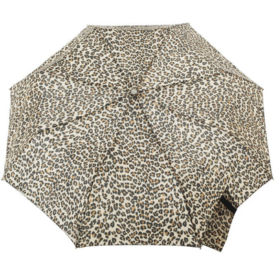Signature Auto Open Umbrella With Neverwet in Leopard Spotted Open Top View