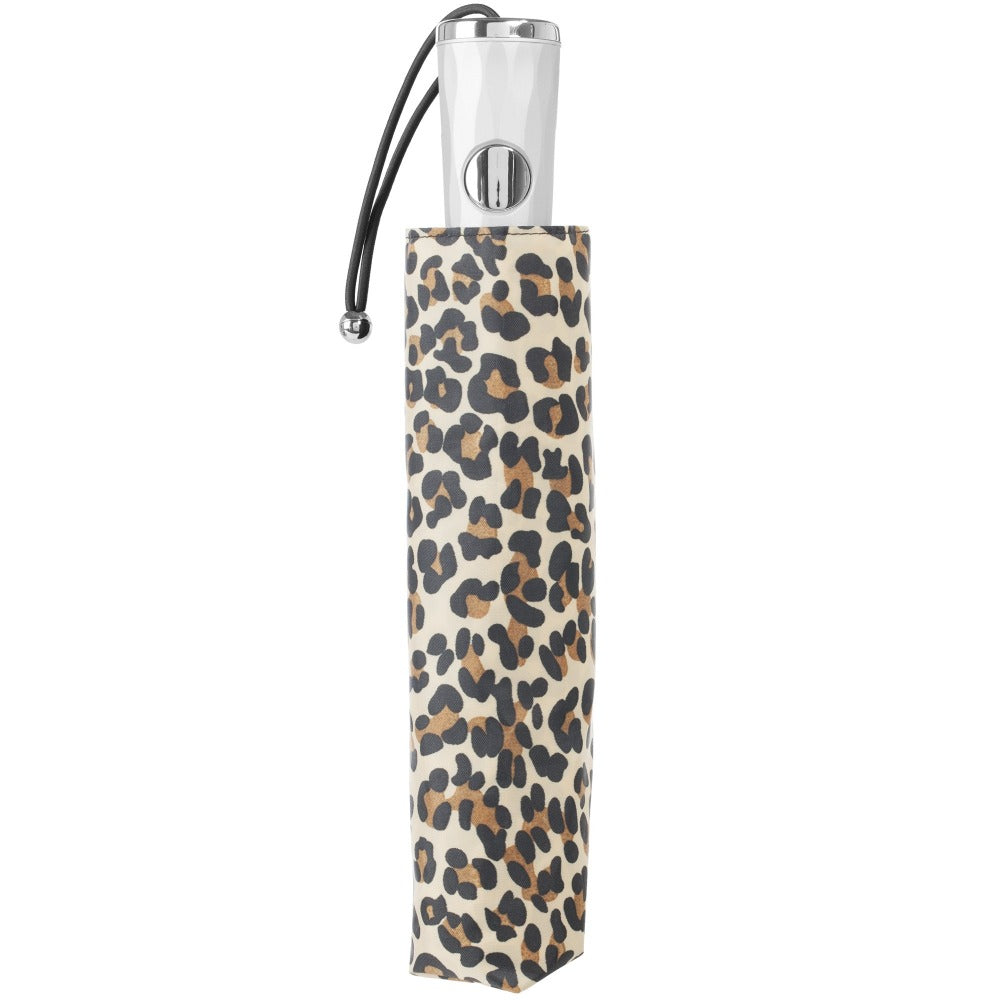 Signature Auto Open Umbrella With Neverwet in Leopard Spotted Closed in Carrying Case