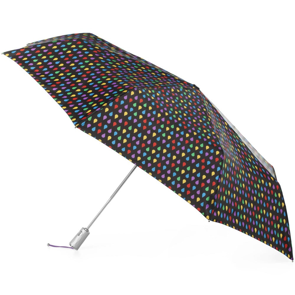 X-Large Auto Open Close Sunguard® Neverwet® Umbrella in Large Raindrops Open Side Profile