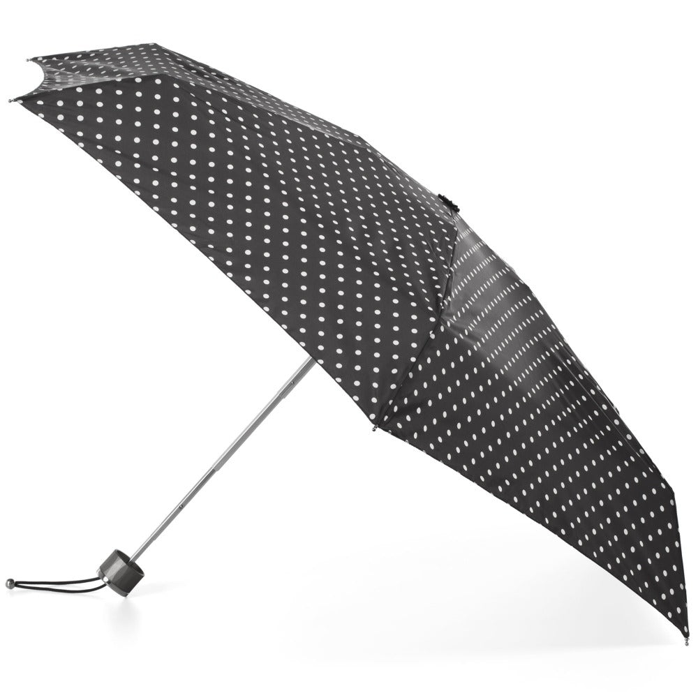 Titan Mini Manual Umbrella with NeverWet in Black/Swiss Dot Open Side Profile