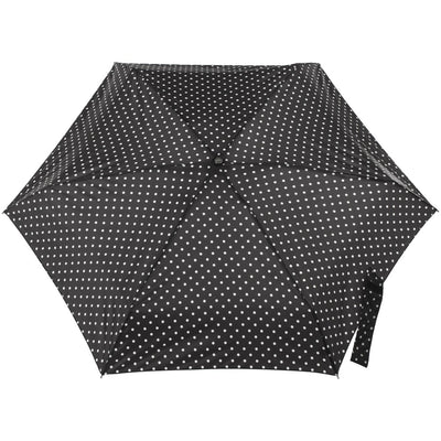 Titan Mini Manual Umbrella with NeverWet in Black/Swiss Dot Open Top View