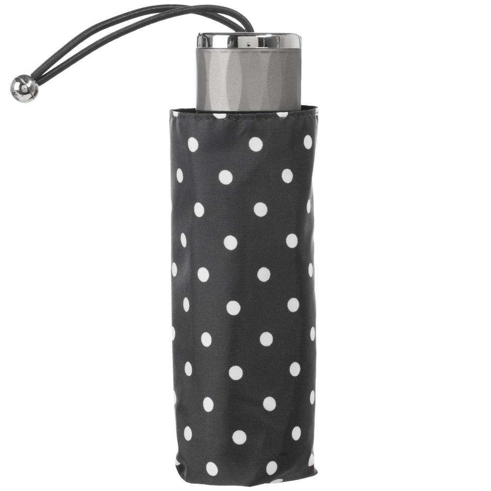 Titan Mini Manual Umbrella with NeverWet in Black/Swiss Dot Closed in Carrying Case