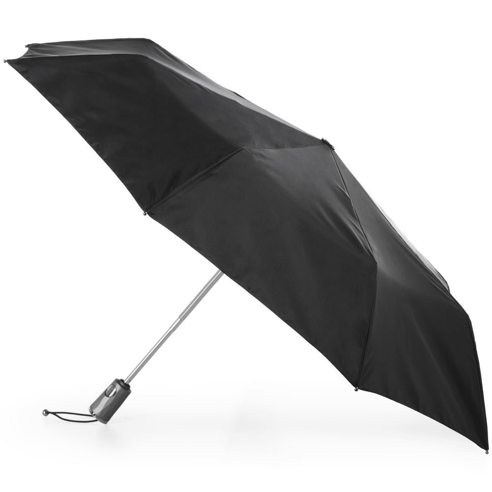 Titan Large Auto Open Close Neverwet Umbrella in Black Open Side Profile
