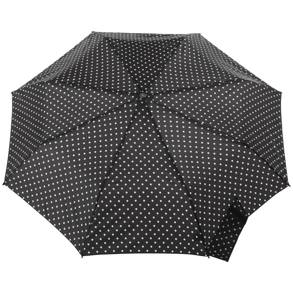 Titan Large Auto Open Close Neverwet Umbrella in Black/Swiss Dot Open Top View