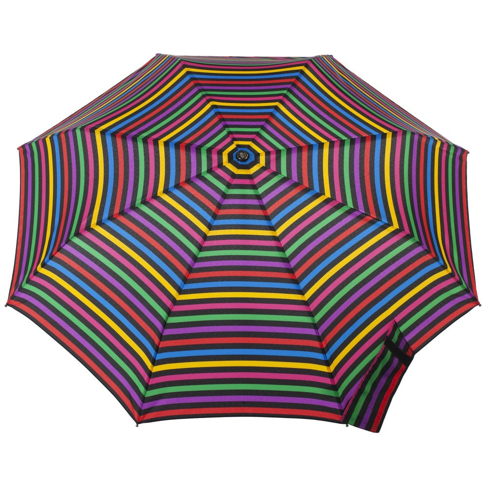 Titan Large Auto Open Close Neverwet Umbrella in Stripe Hue Open Top View