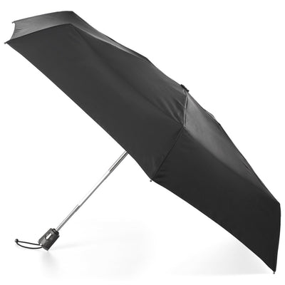 Titan Auto Open Close Compact Umbrella with NeverWet in Black Open Side Profile