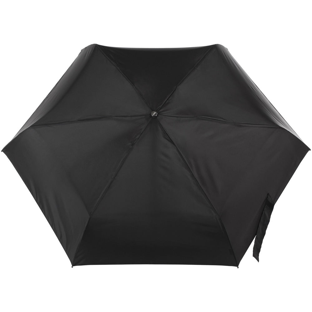 Titan Auto Open Close Compact Umbrella with NeverWet in Black Open Top View