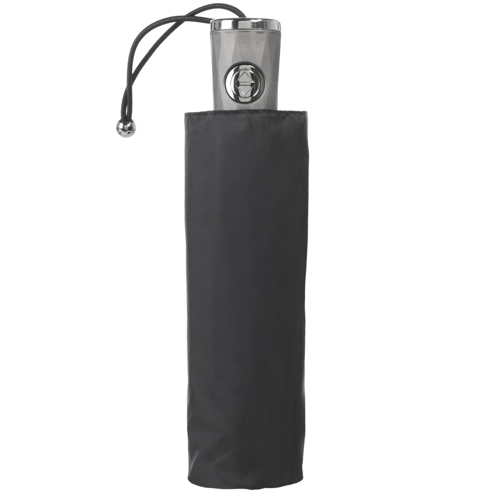 Titan Auto Open Close Compact Umbrella with NeverWet in Black Closed in Carrying Case