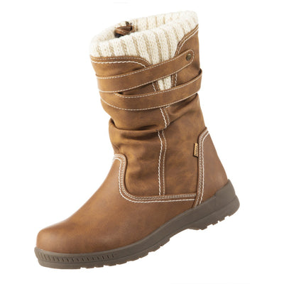 Women's Kappa Winter Boots in Tan Left Angled View
