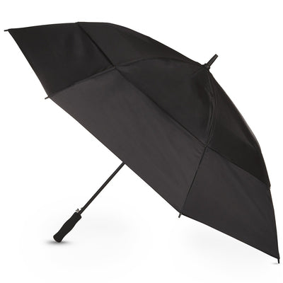 Totessport Auto Open Golf Stick Vented Canopy Umbrella in Black Open Side Profile