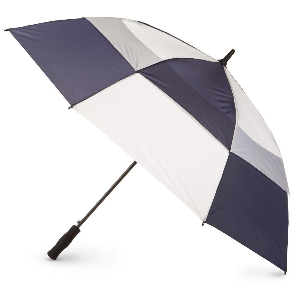 Totessport Auto Open Golf Stick Vented Canopy Umbrella in Navy/White Open Side Profile