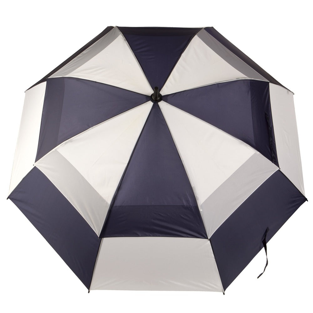 Totessport Auto Open Golf Stick Vented Canopy Umbrella in Navy/White Open Top View