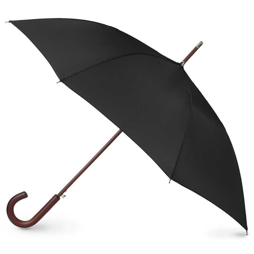 Blue Line Auto Wooden Stick Umbrella in Black Open Side Profile