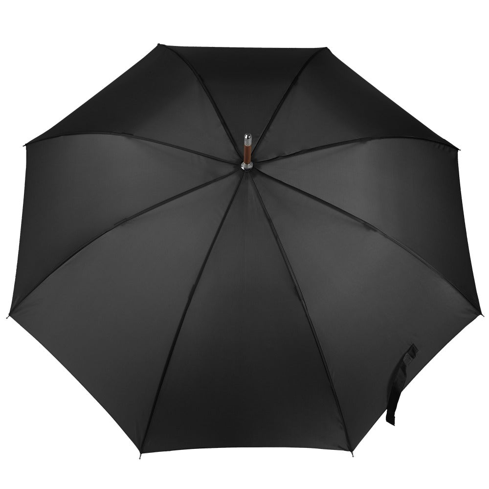 Blue Line Auto Wooden Stick Umbrella in Black Open Top View