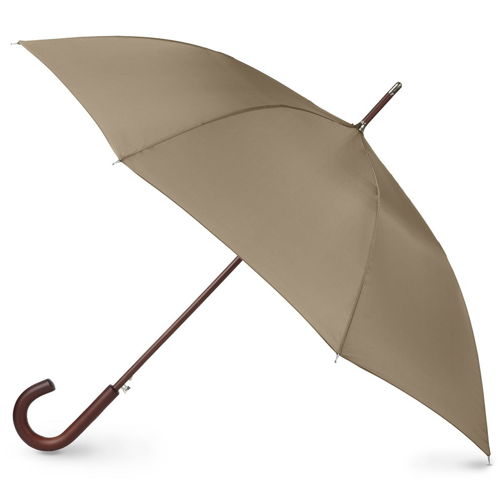 Blue Line Auto Wooden Stick Umbrella in British Tan Open Side Profile