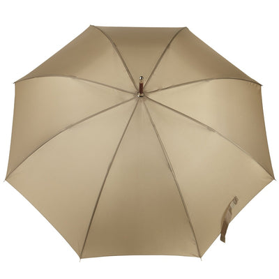 Blue Line Auto Wooden Stick Umbrella in British Tan Open Top View