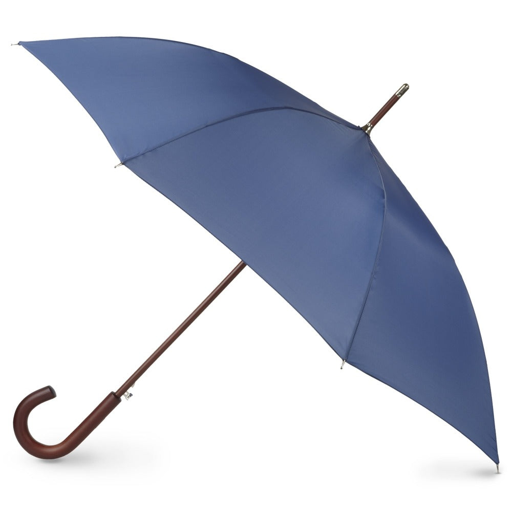 Blue Line Auto Wooden Stick Umbrella in Steele Blue Open Side Profile