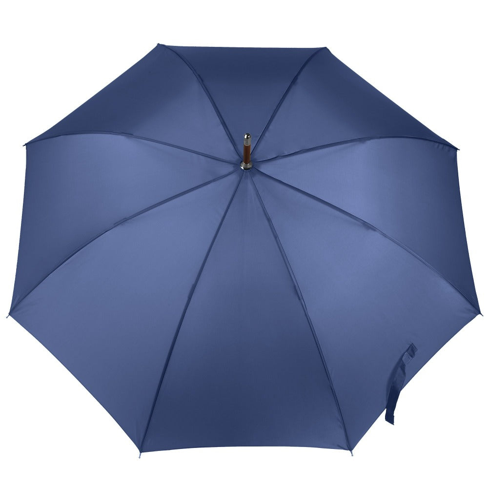 Blue Line Auto Wooden Stick Umbrella in Steele Blue Open Top View