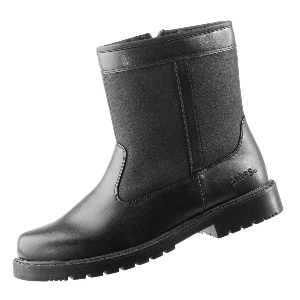 Men's Stadium Winter Boots in Black Left Angled View