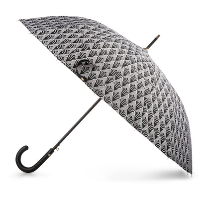 50th Anniversary Stick Umbrella in Raindrop Status Open Side Profile