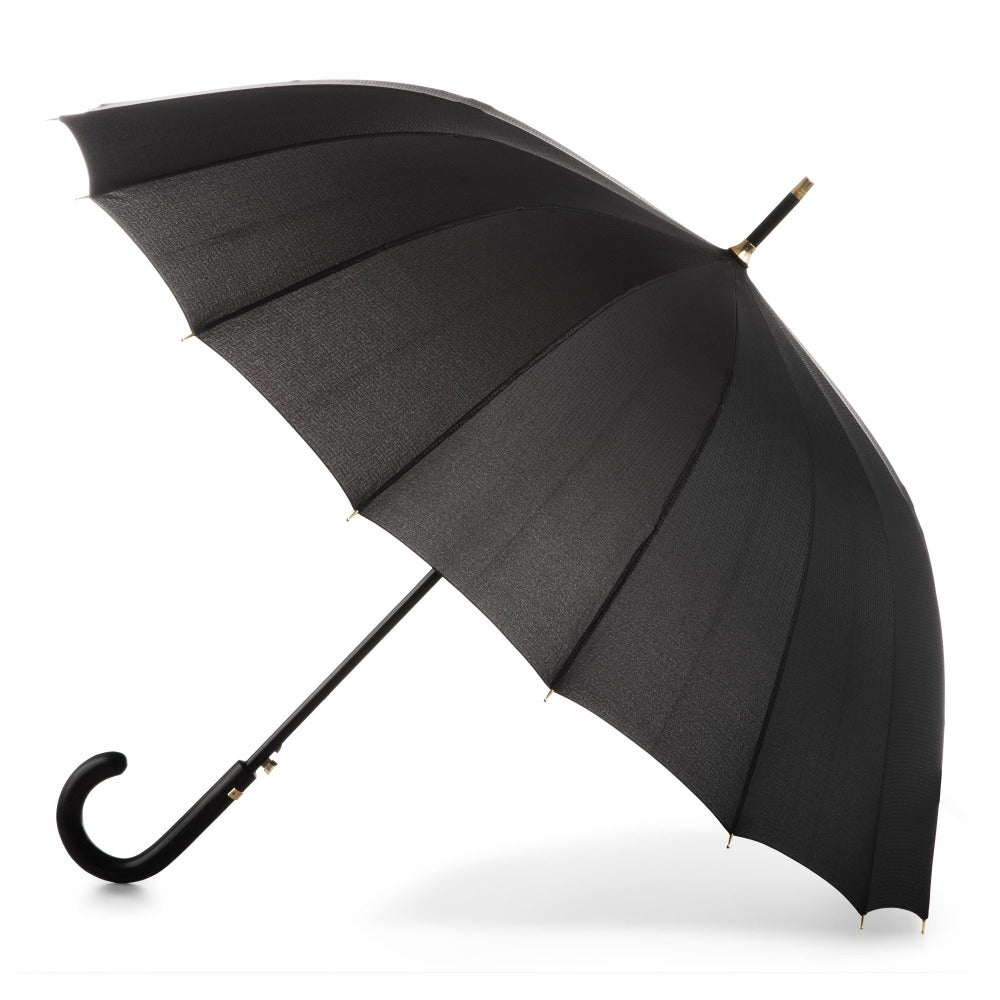 50th Anniversary Stick Umbrella in Dark Plaid Open Side Profile
