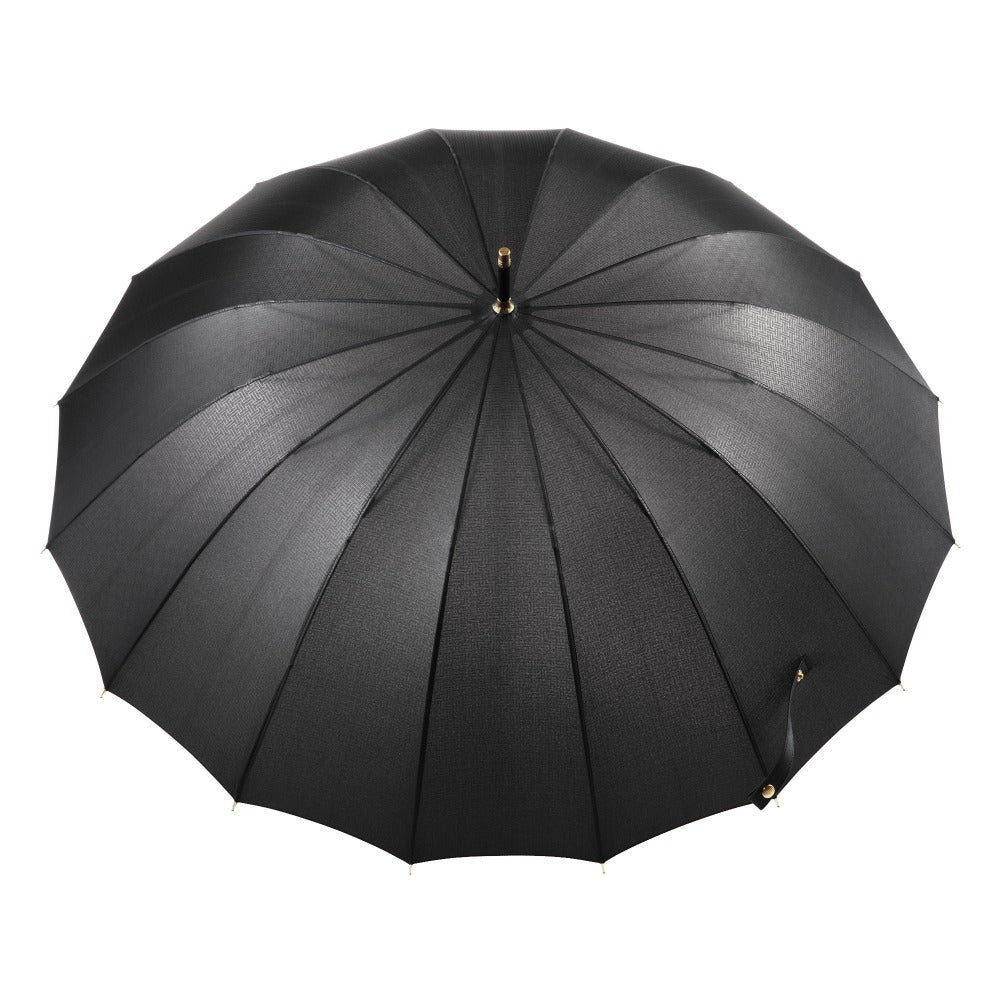 50th Anniversary Stick Umbrella in Dark Plaid Open Top View