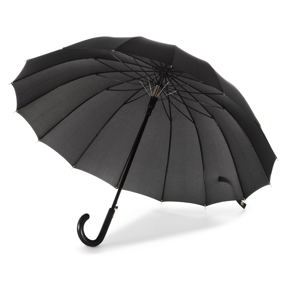 50th Anniversary Stick Umbrella in Dark Plaid Open Inside Rib View