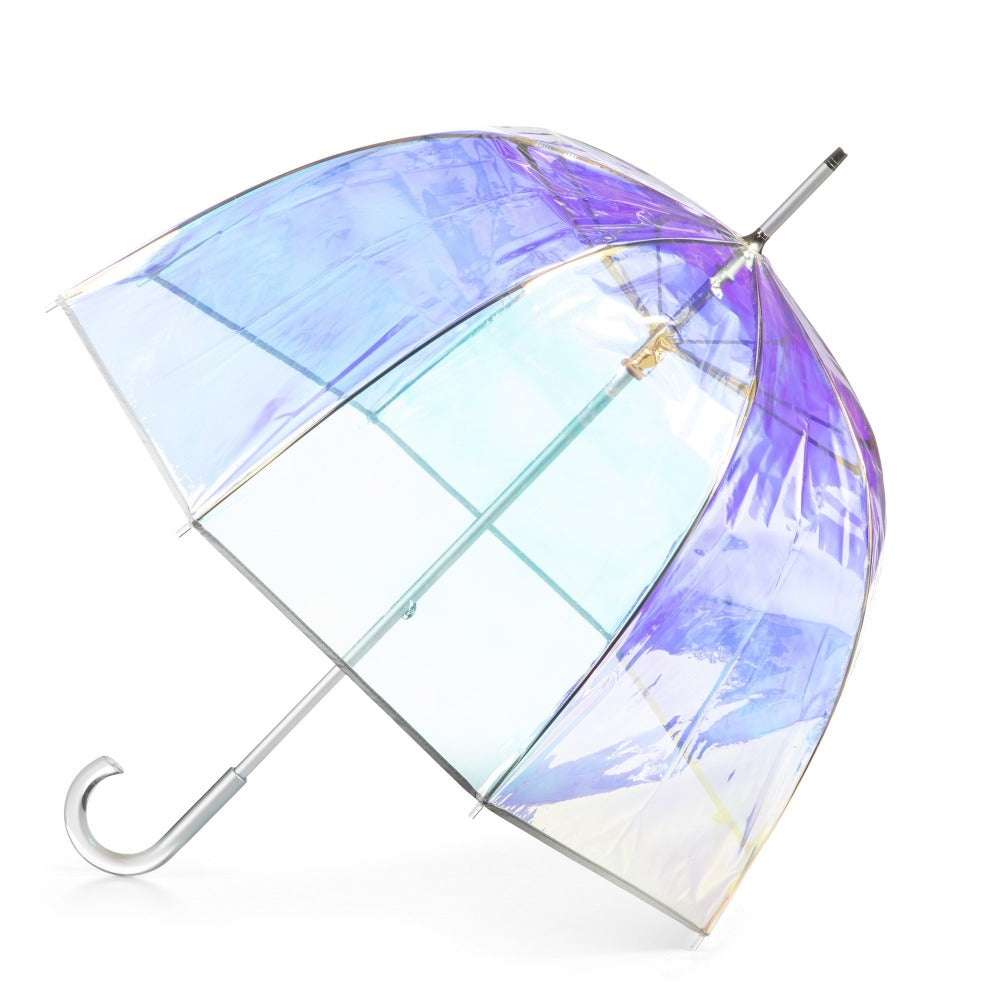 Signature Clear Bubble Umbrella in Iridescent Open Side Profile
