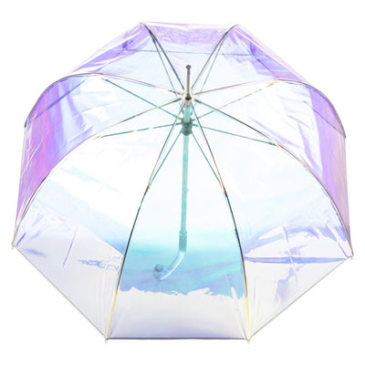 Signature Clear Bubble Umbrella in Iridescent Open Top View