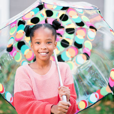 Little girl holding Signature Clear Bubble Umbrella outside frontal view