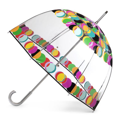 Signature Clear Bubble Umbrella in Circle Mania Open Side Profile