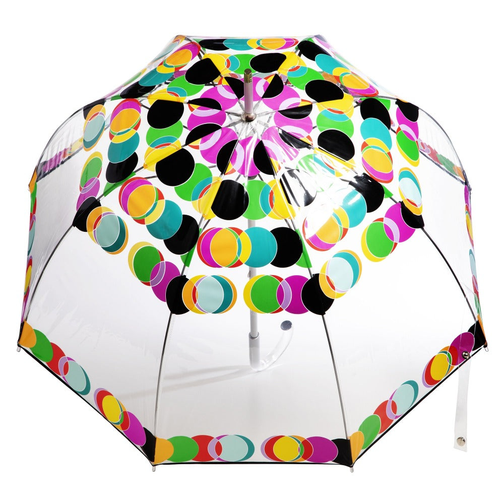 Signature Clear Bubble Umbrella in Circle Mania Open Top View