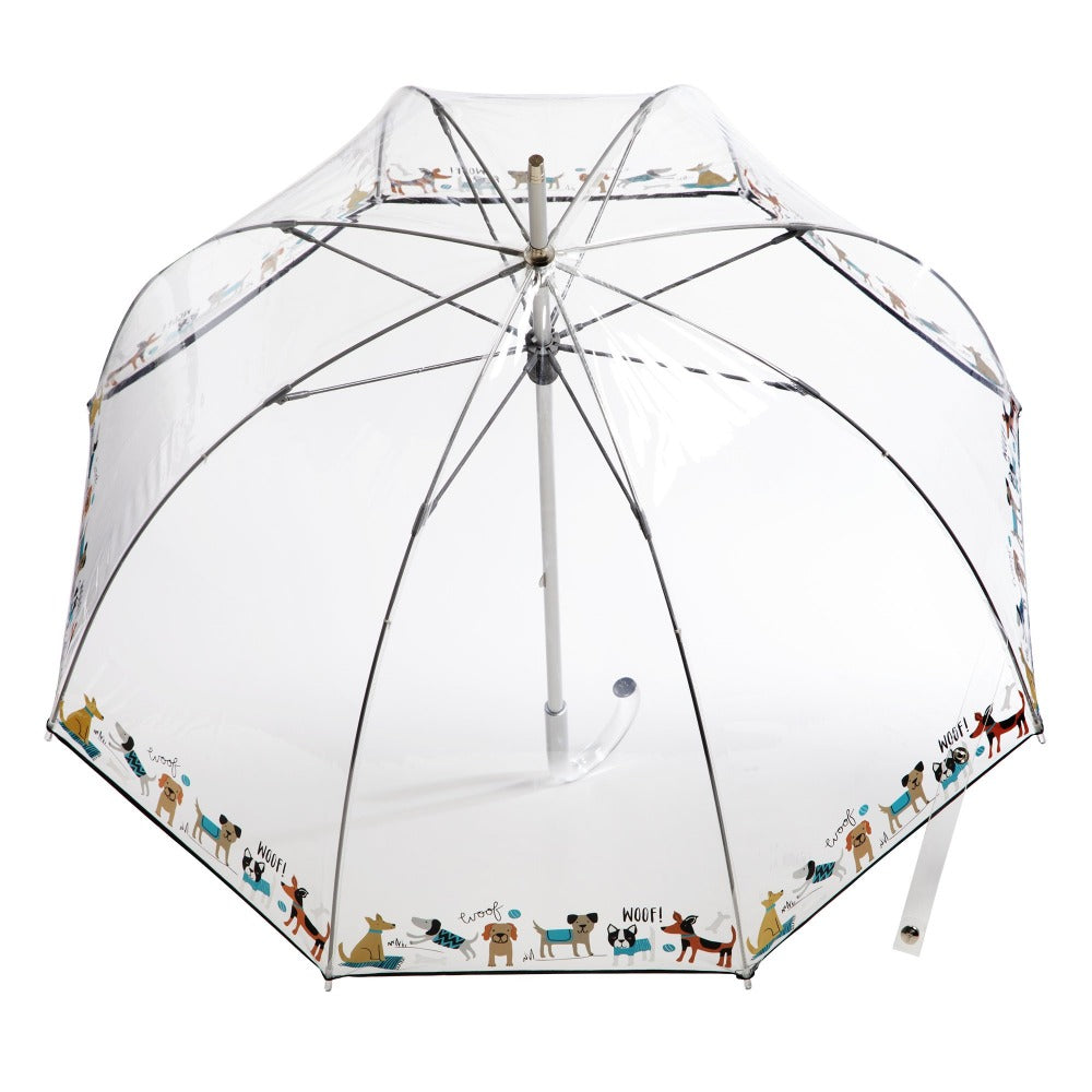 Signature Clear Bubble Umbrella in Woof Bubble Open Top View