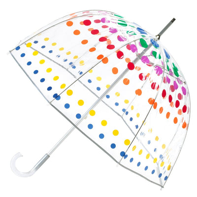Signature Clear Bubble Umbrella in Primary Dots Open Side Profile