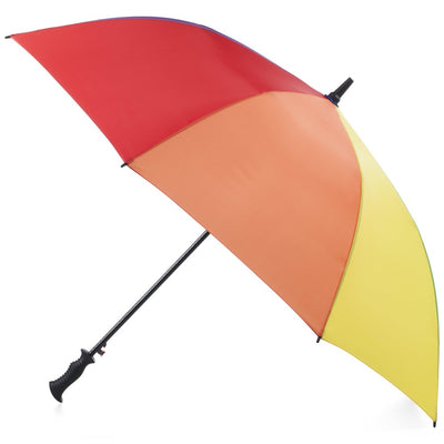 SunGuard Auto Open Golf Stick Umbrella with NeverWet in Rainbow Open Side Profile