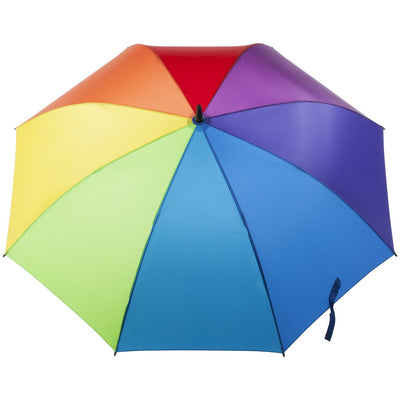 SunGuard Auto Open Golf Stick Umbrella with NeverWet in Rainbow Open Top View