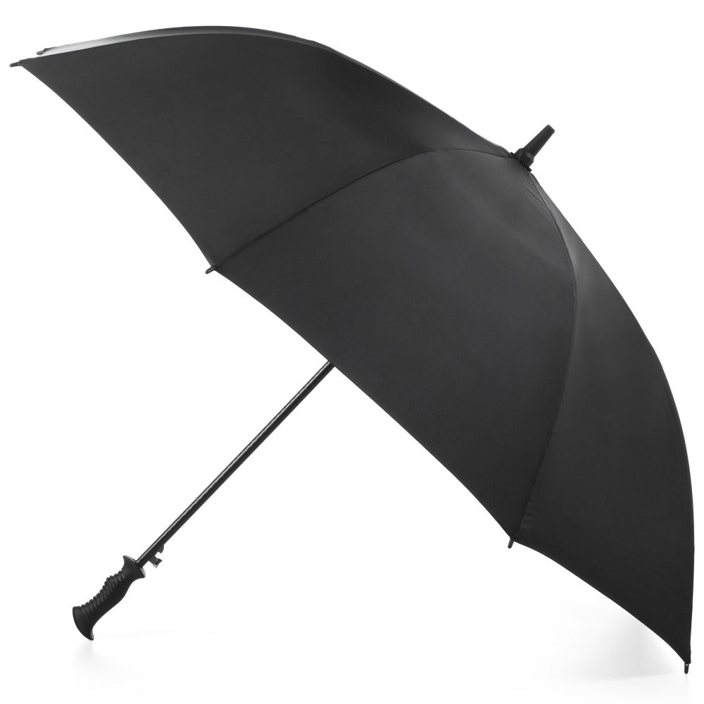 SunGuard Auto Open Golf Stick Umbrella with NeverWet in Black Open Side Profile