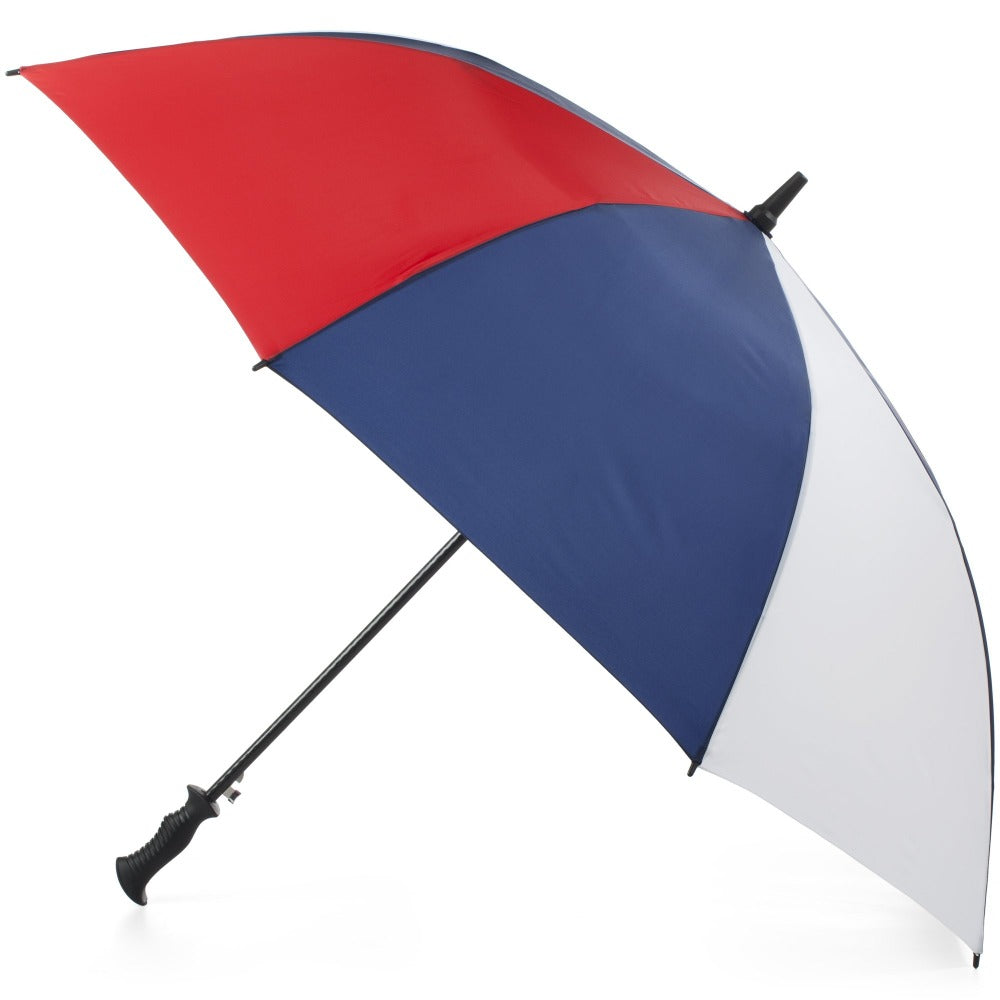 SunGuard Auto Open Golf Stick Umbrella with NeverWet in Navy/White Open Side Profile