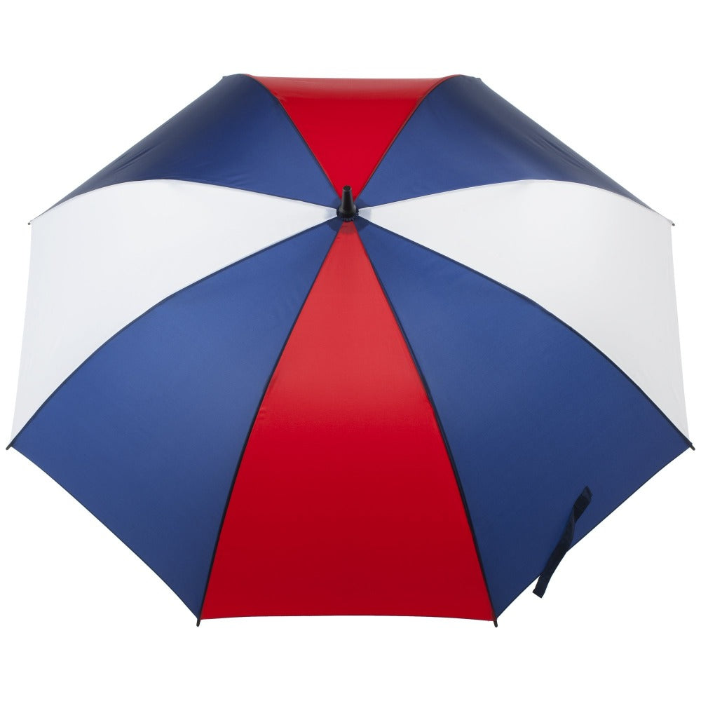 SunGuard Auto Open Golf Stick Umbrella with NeverWet in Navy/White Open Top View