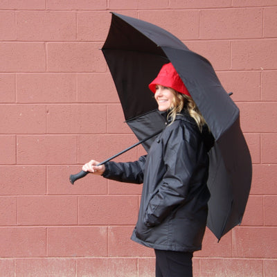 SunGuard Auto Open Golf Stick Umbrella with NeverWet in Black With Model