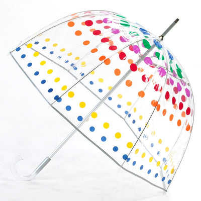 Signature Manual Clear Bubble Umbrella in Primary Dots Open Side Profile